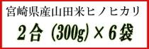 宮崎県産山田米ヒノヒカリ 2合×6